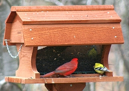 Post Mount Barn Bird Feeder