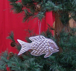 Punched Metal Ornament Fish Set of 12