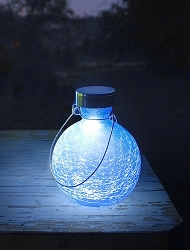 Solar Crackle Glass Goblet Lantern Blue Lapis Set of 2