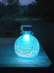 Solar Crackle Glass Goblet Lantern Teal Set of 2