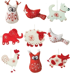 Wild Woolies Snowflake Ornament Collection Set of 9
