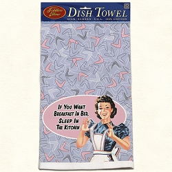 Breakfast In Bed Retro Dish Towel