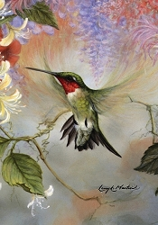 Hummingbirds and Fuschias Garden Flag