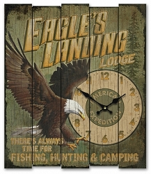 Eagle's Landing Lodge Wooden Cabin Sign Clock