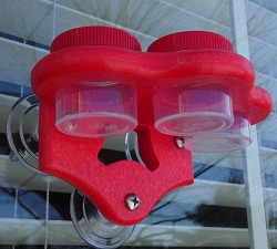 Triple Nectar Dots Window Hummingbird Feeder Red/Red