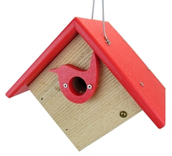 Classic Hanging Wren House w/Portal Red
