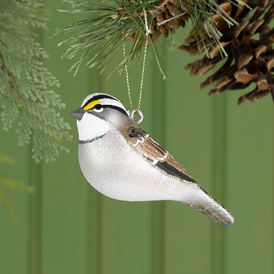 Cobane Studio White Throated Sparrow Glass Ornament