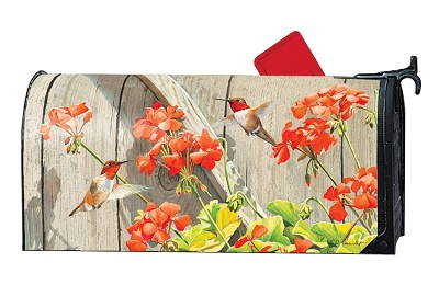 Hummingbirds with Geraniums MailWrap