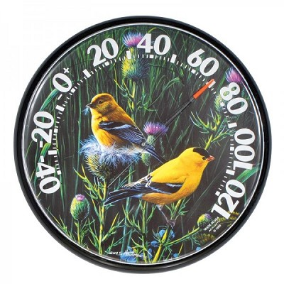 "Acurite 12.5"" Audubon Goldfinches Thermometer"