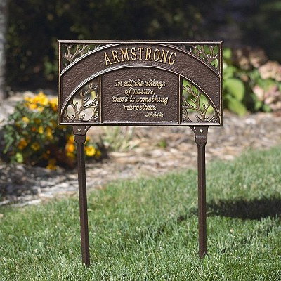 Aristotle Personalized Garden Plaque with one line of text in Bronze/Gold