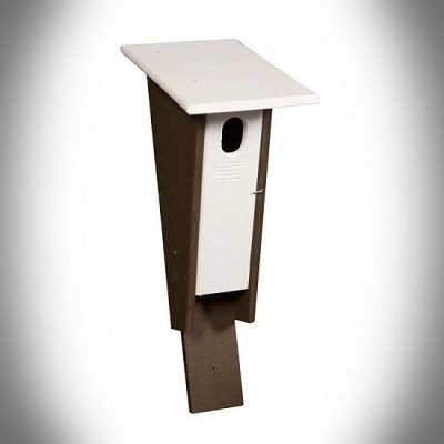 Amish Recycled Poly Peterson Bluebird House Bright White/Milwaukee Brown
