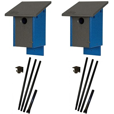 Amish Recycled Poly Classic Bluebird House Package w/Pole Kit