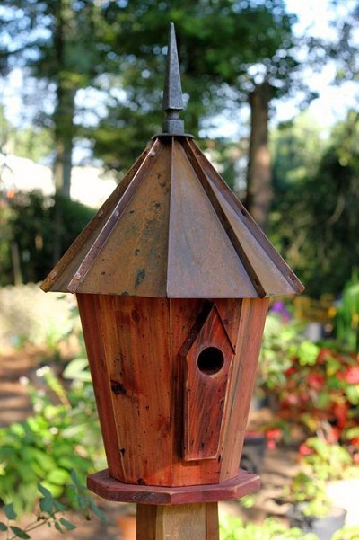 Innspire Bird House with Brown Patina Copper Roof