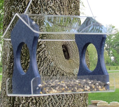 Recycled Poly Hanging Bird Feeder Blue