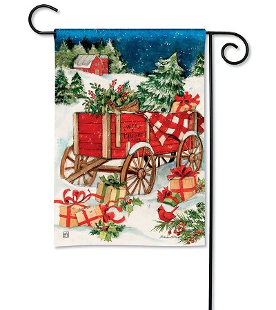 Christmas Farm Wagon Garden Flag