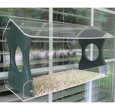 Recycled Poly Window Bird Feeder Large Green