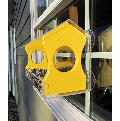Recycled Poly Window Bird Feeder Large Yellow