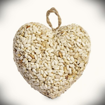 Love Heart Safflower Bird Seed Ornament Set of 24