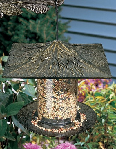 Classic Pinecone Seed Tube Feeder Small French Bronze