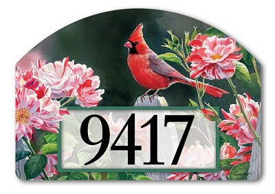 Cardinal with Variegated Roses Yard DeSign