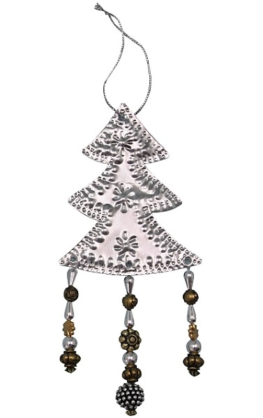 Punched Metal & Bead Ornament Tree