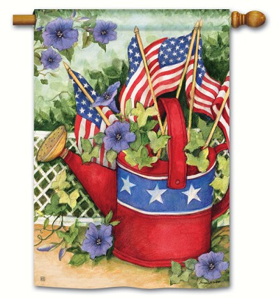 Patriotic Watering Can House Flag