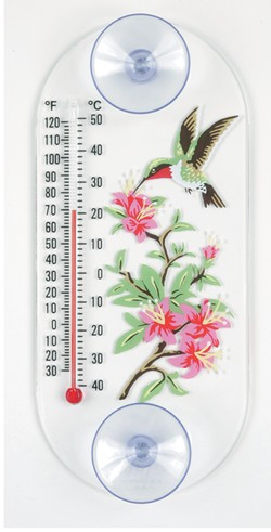 Aspects Original Hummingbird & Azalea Window Thermometer