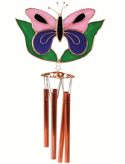 Butterfly Pink & Purple with Leaves Stained Glass Windchime Small 20""