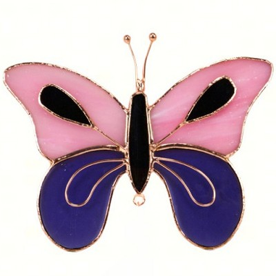 Butterfly Pink & Purple Stained Glass Suncatcher