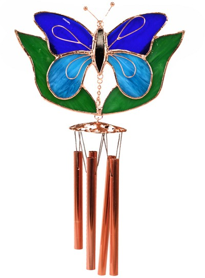 Butterfly Dark & Light Blue with Leaves Stained Glass Windchime Small 20""
