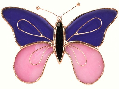 Butterfly Purple & Pink Stained Glass Suncatcher