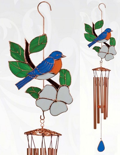Bluebird Stained Glass Windchime Large 40
