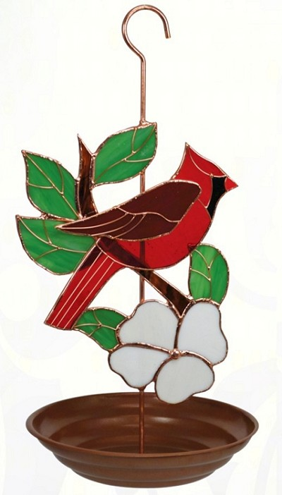 Cardinal Stained Glass Bird Feeder