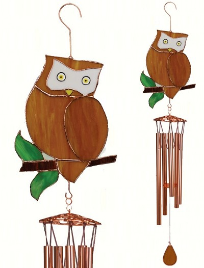 Owl Stained Glass Windchime Large 40""