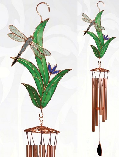 Dragonfly with Leaves Stained Glass Windchime Large 40""