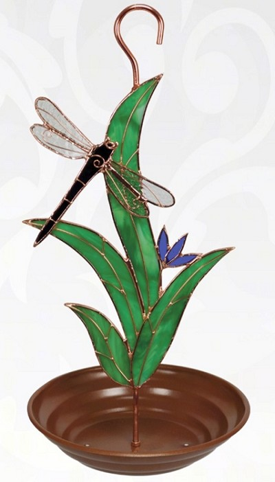 Dragonfly with Leaves Stained Glass Bird Feeder
