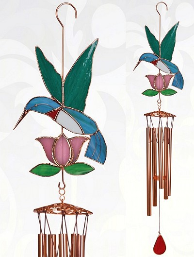 Hummingbird with Pink Flower Stained Glass Windchime Large 40""