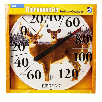 "EZ Read 12.5"" Winter Deer Dial Thermometer"