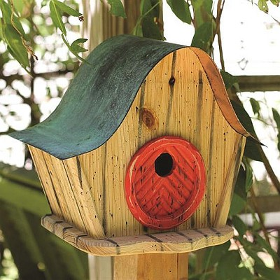 Katy's Kottage Bird House Natural w/Red Door