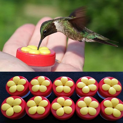 Nectar Dots Handheld Hummingbird Feeder Red w/Yellow Flowers 10/Pack