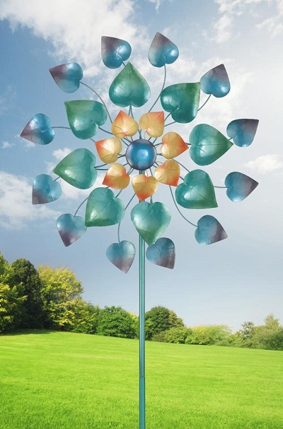 Maha Rose Kinetic Stake Garden Spinner