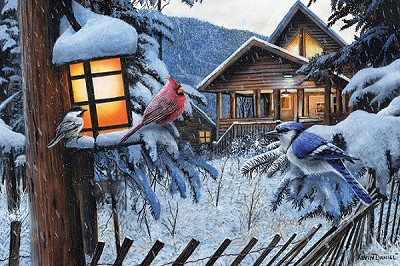 "Winter Cabin Birds LED Wall Art 24"" x 16"""