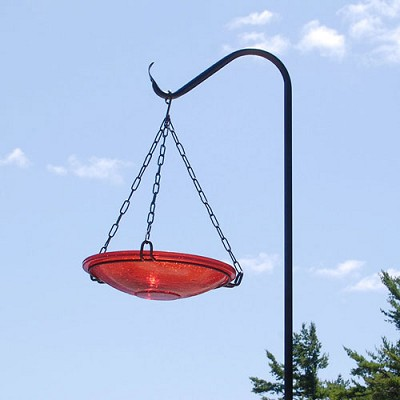 "Achla Crackle Glass Hanging Bird Bath 14"" Red"