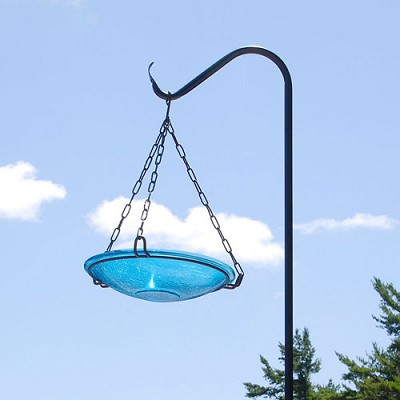 "Achla Crackle Glass Hanging Bird Bath 14"" Teal"