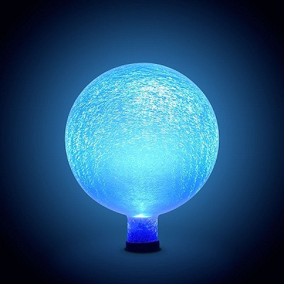 Solar-Powered Crackle Glass Orb Blue Lapis