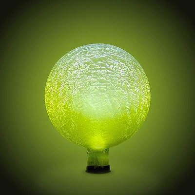 Solar-Powered Crackle Glass Orb Yellow