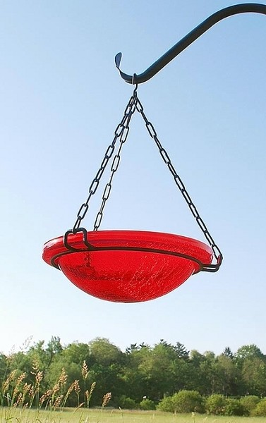 "Achla Crackle Glass Hanging Bird Bath 12"" Red"
