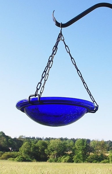 "Achla Crackle Glass Hanging Bird Bath 12"" Cobalt Blue"