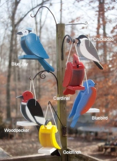 Amish Hand-Made Shaped Bird Feeder Collection Set of 6