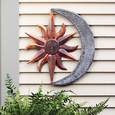 Flamed Copper Sun & Moon Wall Hanging
